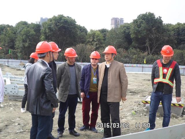 陈绍祥董事长到特高压实训线工程检查铁塔组装情况