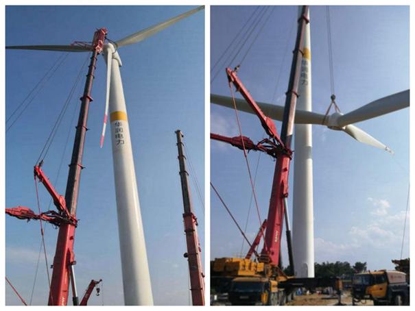 华润河南唐河风电主体工程顺利完成首台风机吊装
