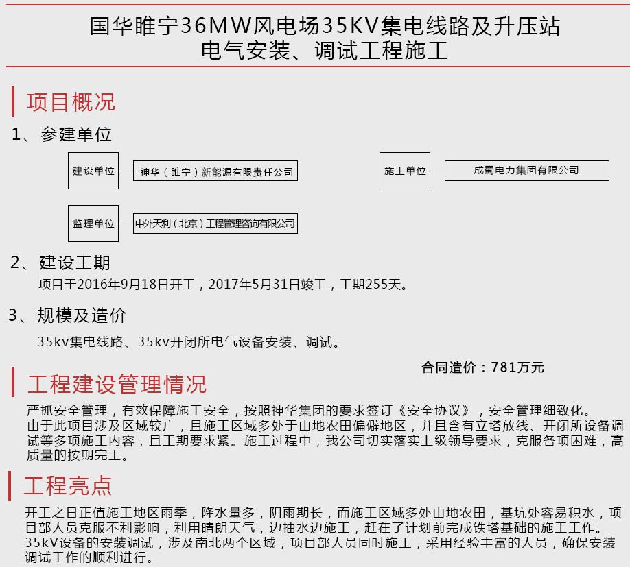 国华睢宁36MW风电场35KV集电线路及升压站电气安装、调试工程施工