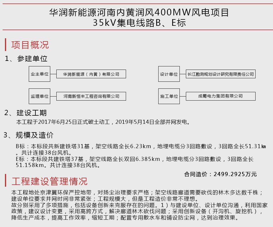 华润新能源河南内黄润风400MW风电项目35kV集电线路B、E标