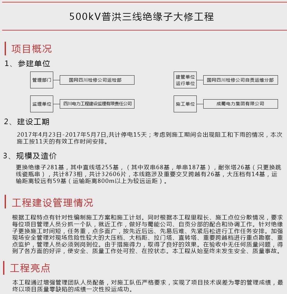500kV普洪三线绝缘子大修工程